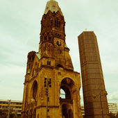 Retro looking Bombed church, Berlin — Stock Photo
