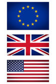 EU UK USA flag vignetted illustration — Stock Photo