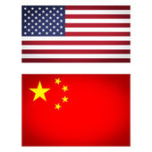 USA China flag vignetted illustration — Stock Photo