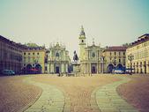 Retro look Piazza San Carlo, Turin — Stock Photo