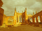 Retro looking Coventry Cathedral ruins — Stock Photo