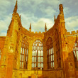 Stock Photo: Retro looking Coventry Cathedral ruins