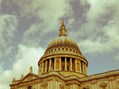 Retro looking St Paul Cathedral, London — Stock Photo