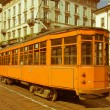 Retro looking Vintage tram, Milan — Stock Photo
