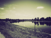 Vintage sepia River Elbe — Stock Photo