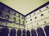 Vintage sepia Castello Sforzesco, Milan — Stock Photo