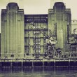 Vintage sepia Battersea Powerstation London — Stock Photo