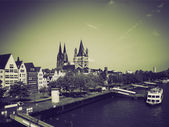 Vintage sepia Koeln panorama — Stock Photo