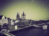 Vintage sepia Koeln panorama — Stockfoto