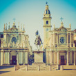 Постер, плакат: Retro look Santa Cristina and San Carlo church