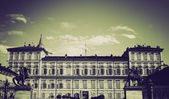 Vintage sepia Palazzo Reale Turin — Stock Photo