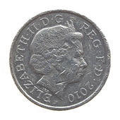 The Queen on One Pound coin — Stock Photo