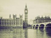Vintage sepia Houses of Parliament, London — Stock Photo