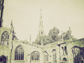 Vintage sepia Coventry Cathedral ruins — Stock Photo