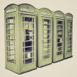 Vintage sepia London telephone box — Foto de Stock