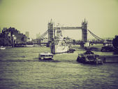 Vintage sepia River Thames in London — Fotografia Stock