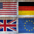 Stock Photo: Flags over concrete wall