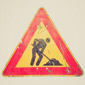 レトロな外観の道路工事の標識 — ストック写真