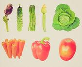 Warzywa retro spojrzenie na białym tle — Zdjęcie stockowe