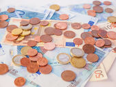 Euros coins and notes — Foto Stock