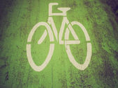 Retro look Bike lane sign — Stock Photo