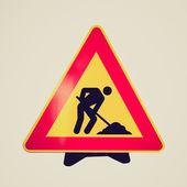 Retro vzhled silniční práce znamení — 图库照片
