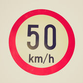 Retro look Speed limit sign — Stock Photo