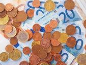 Euros coins and notes — Foto de Stock