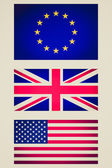 Retro look EU UK USA flag vignetted illustration — Stock Photo
