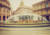 Retro look Piazza de Ferrari in Genoa — Stock Photo