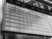 Black and white Trains time table — Stock Photo