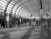 Black and white Torino Porta Susa station — Stock Photo