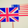 Retro look British and American flags — Stock Photo