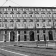 Black and white Teatro Regio royal theatre in Turin — Stock Photo