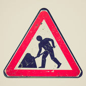 Retro look Roadworks sign — Stock Photo