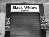 Black and white Black Widow records — Stock Photo
