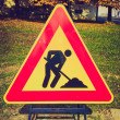 Retro look Road work sign — Stock Photo