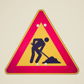Retro look Road works — Stock Photo