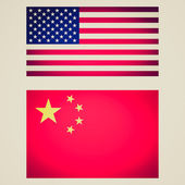 Retro look USA China flag vignetted illustration — Stock Photo