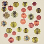ретро евро монеты коллаж — Стоковое фото