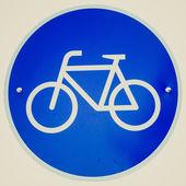 Retro look Bike lane sign — Stock Photo