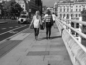 Black and white London, England, UK - September 27, 2011: People — Stock Photo