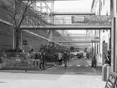 Siyah beyaz eski rıhtım Cenova Limanı — Stok fotoğraf