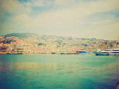 Retro look View of Genoa Italy from the sea — Stockfoto