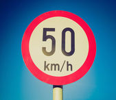 Retro look Speed limit sign — Stok fotoğraf