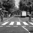 Постер, плакат: Black and white Abbey Road London UK