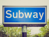 Retro look Subway sign — Stock Photo