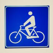 Retro look Bike lane sign — Stockfoto