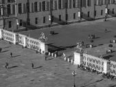 Black and white Piazza Castello Turin — 图库照片