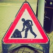 Постер, плакат: Retro look Roadworks sign